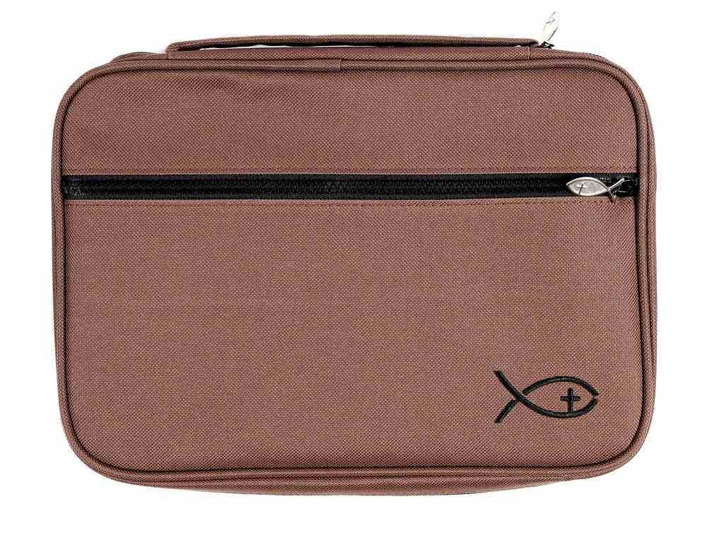 Bible Cover Deluxe With Fish Symbol: Chocolate Brown Xlarge Bible Cover