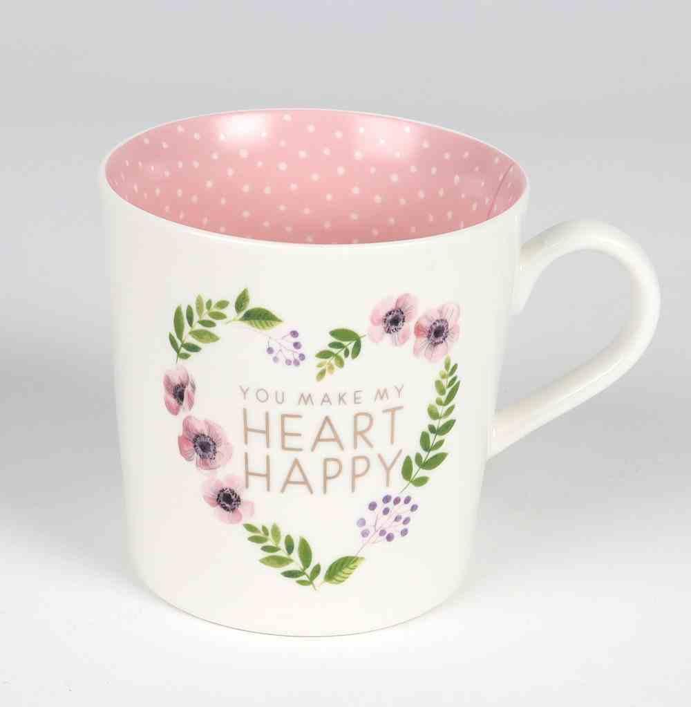 Ceramic Mug: You Make My Heart Happy, Pink Inside (414ml) Homeware
