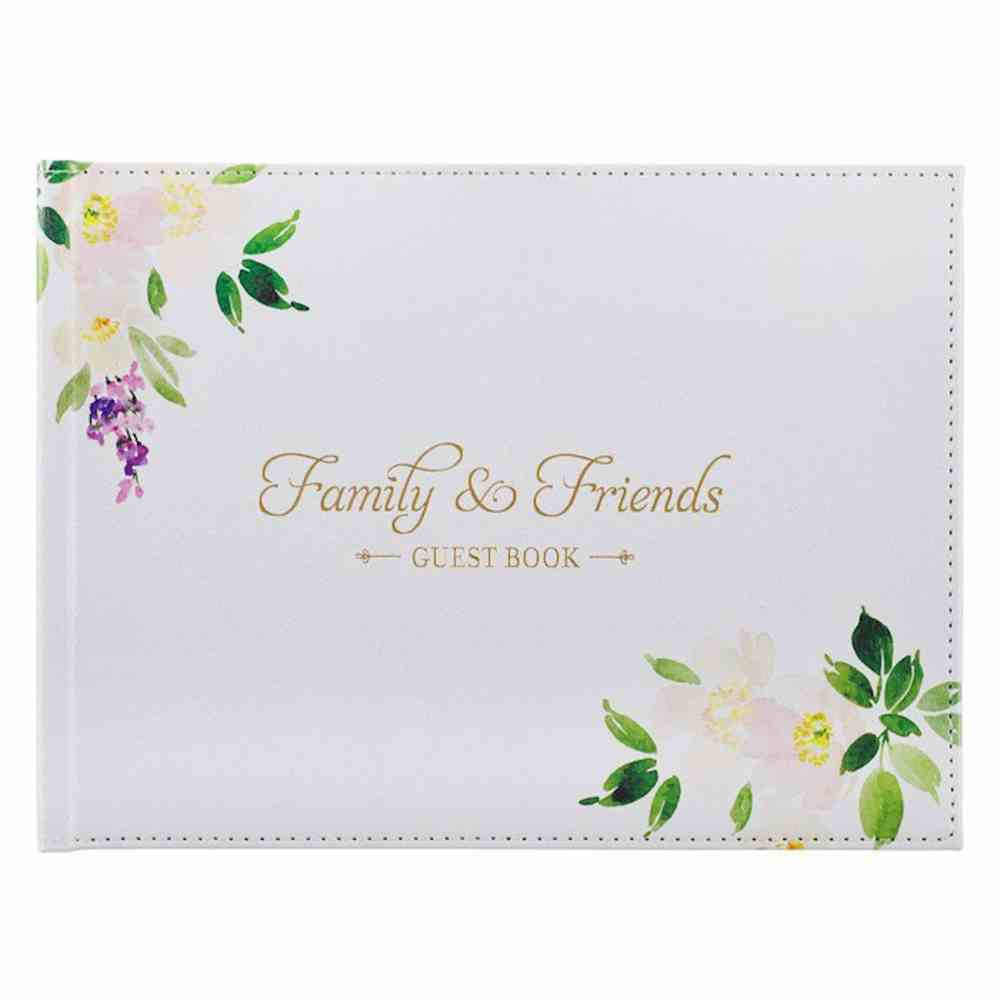 Guest Book: Family and Friends, White Floral Imitation Leather