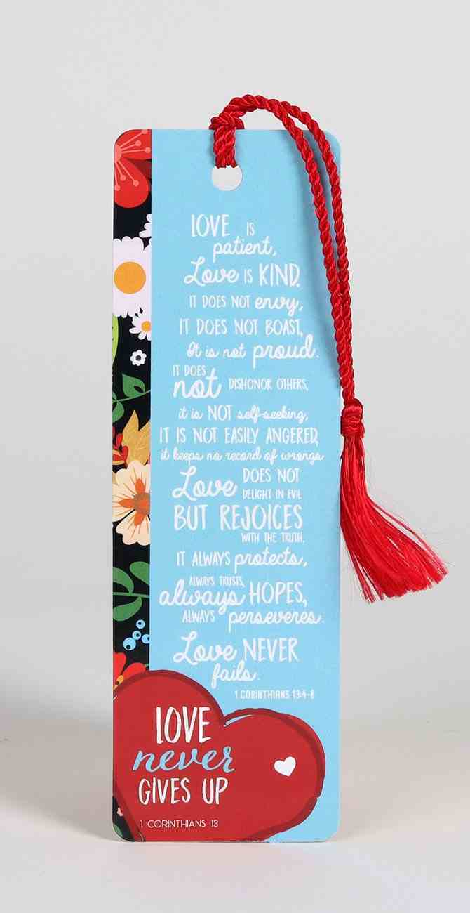 Bookmark With Tassel: Love Never Gives Up Stationery