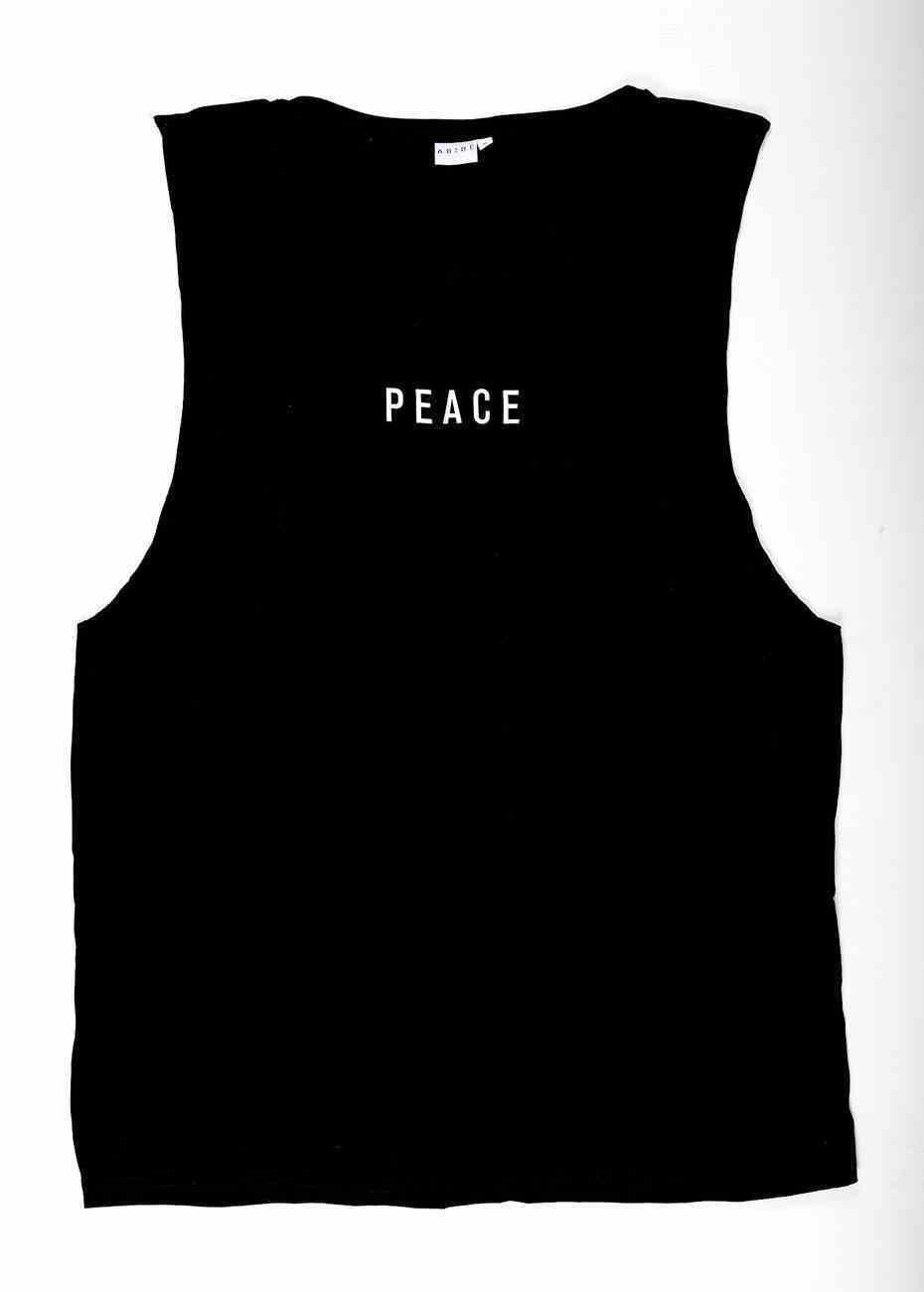 Mens Barnard Tank: Peace, Small, Black With White Print (Abide T-shirt Apparel Series) Soft Goods