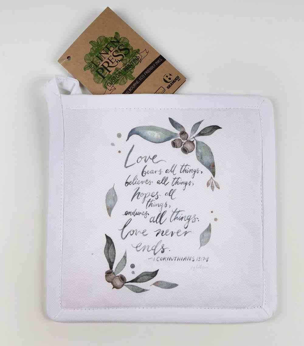Pot Holder White Fig Hill Farm Faith Never Ends (1 Cor. 13: 7-8) (Australiana Products Series) Soft Goods