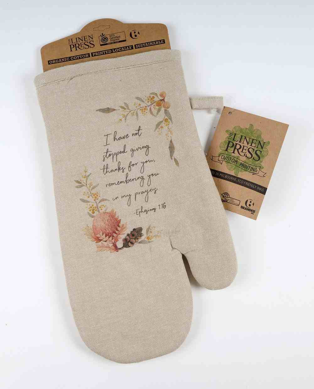 Oven Mitt Beige Fig Hill Farm Faith Giving Thanks (Eph 1: 16) (Australiana Products Series) Soft Goods