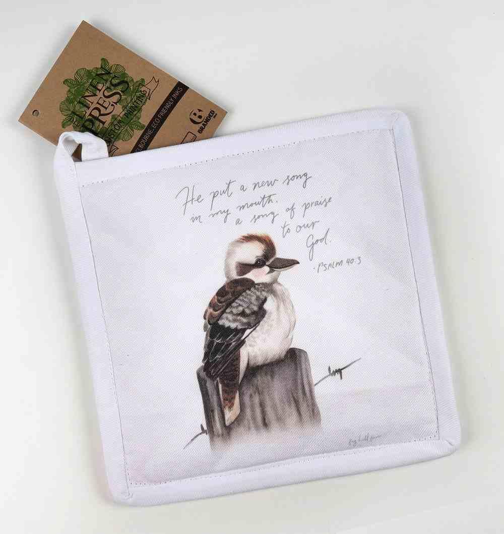 Pot Holder White Fig Hill Farm Faith Kookaburra Praise (Psalm 40: 3) (Australiana Products Series) Soft Goods