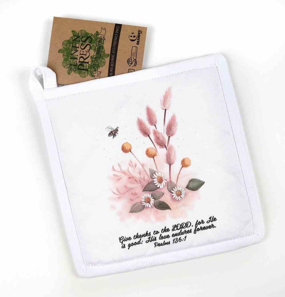 Pot Holder White Fig Hill Farm Faith Sweet Glow (Psalm 136: 1) (Australiana Products Series) Soft Goods