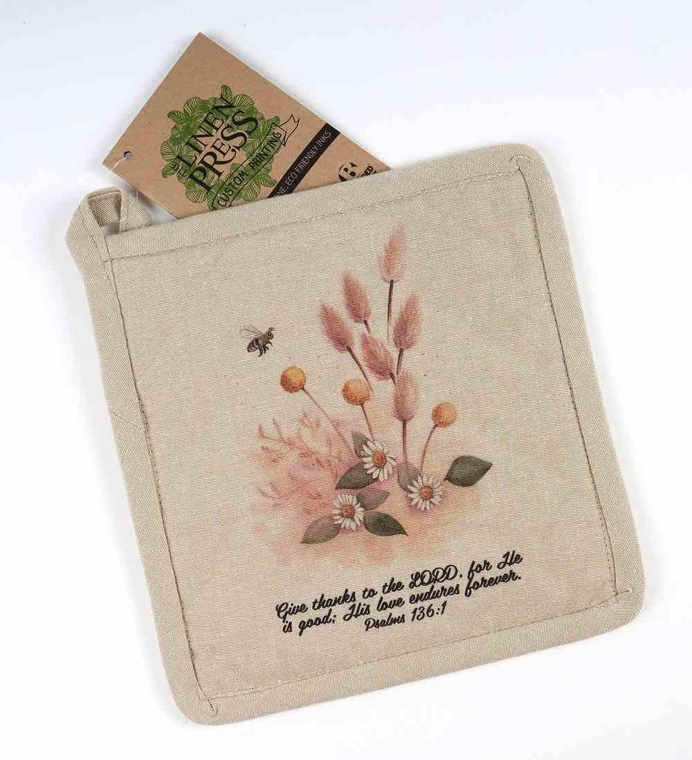 Pot Holder Beige Fig Hill Farm Faith Sweet Glow (Psalm 136: 1) (Australiana Products Series) Soft Goods