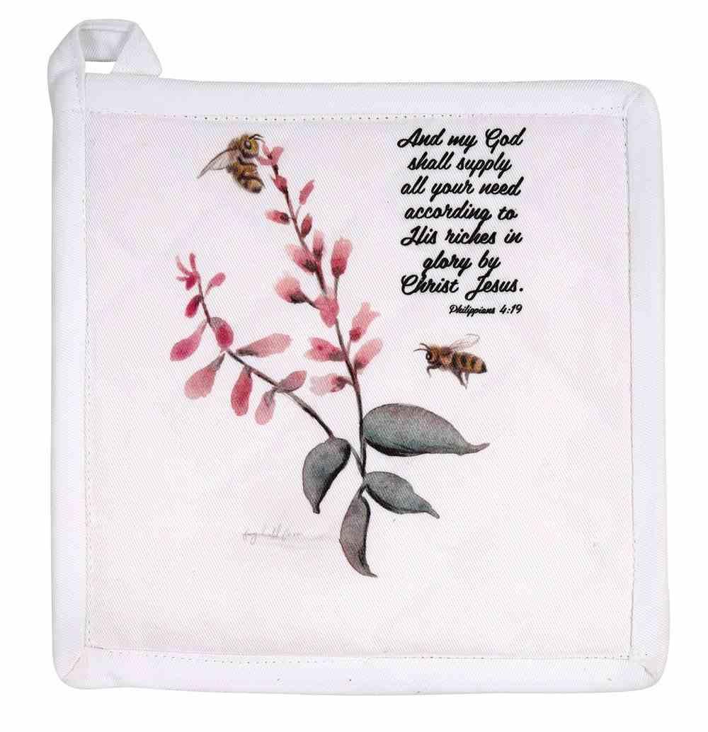 Pot Holder Beige Fig Hill Farm Faith Summer Bee (Phil. 4: 19) (Australiana Products Series) Soft Goods