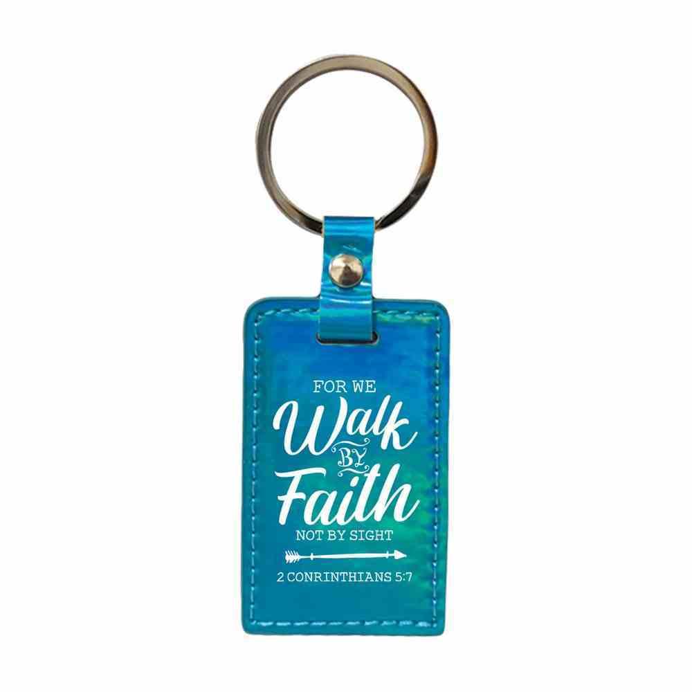 Iridescent Keyring: For We Walk By Faith, 2 Cor 5:7 Jewellery
