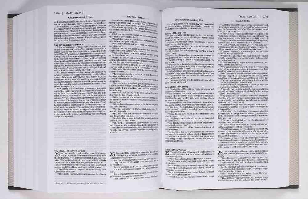 NIV KJV NASB Amplified Parallel Bible Hardback