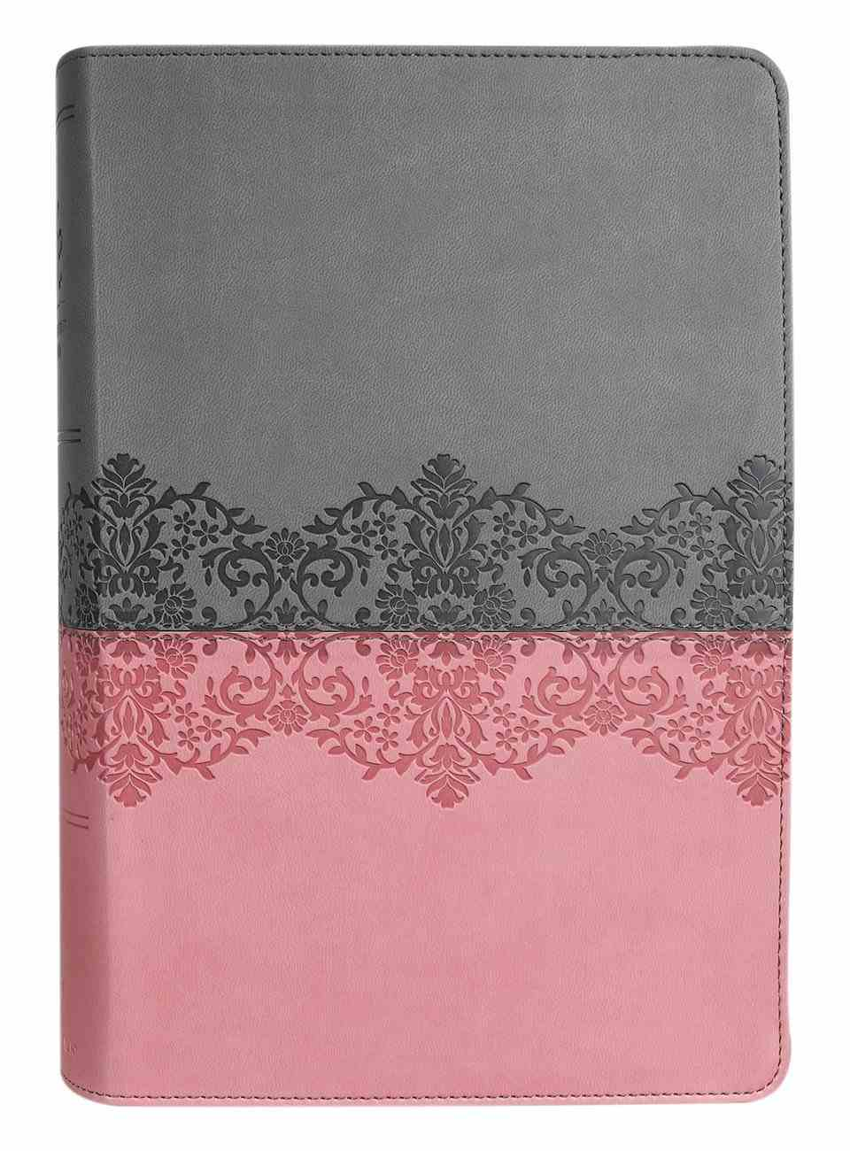 NIV Life Application Study Bible Third Edition Large Print Gray/Pink Indexed (Red Letter Edition) Premium Imitation Leather