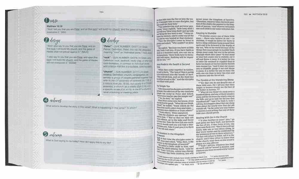 NIV Verse Mapping Bible Gray Fabric Over Hardback