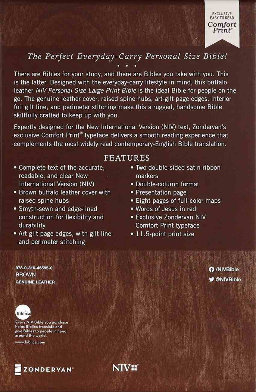 NIV Personal Size Bible Large Print Brown (Red Letter Edition) Genuine Leather