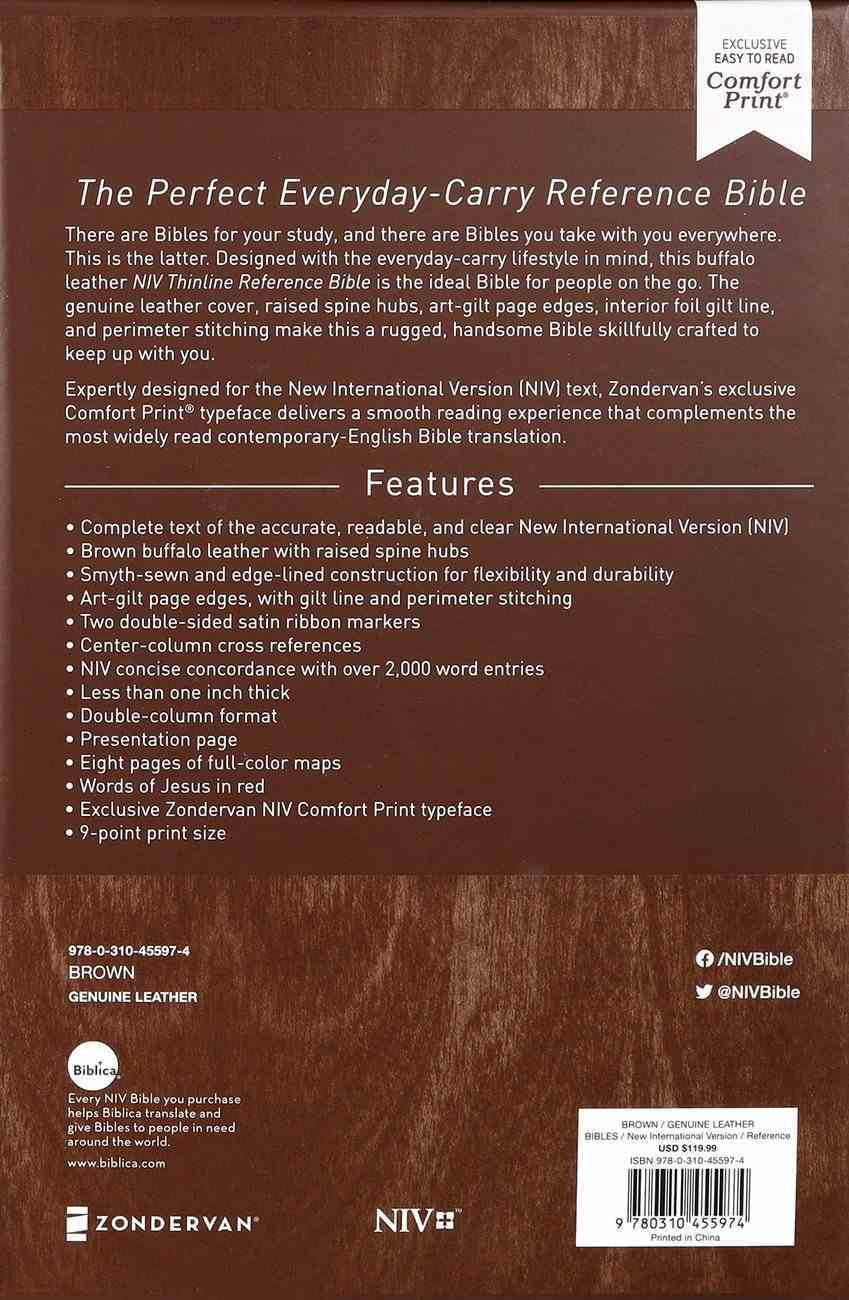 NIV Thinline Reference Bible Brown (Red Letter Edition) Genuine Leather