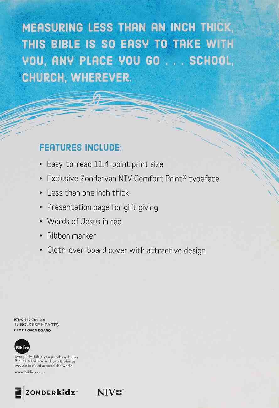 NIV Bible For Kids Large Print Turquoise Hearts Thinline (Red Letter Edition) Hardback