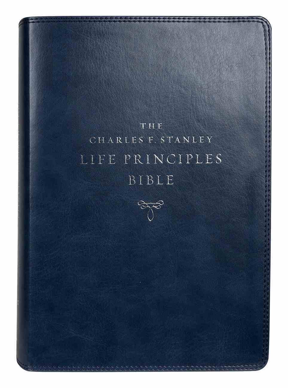 NIV Charles F Stanley Life Principles Bible Blue (2nd Edition) Premium Imitation Leather