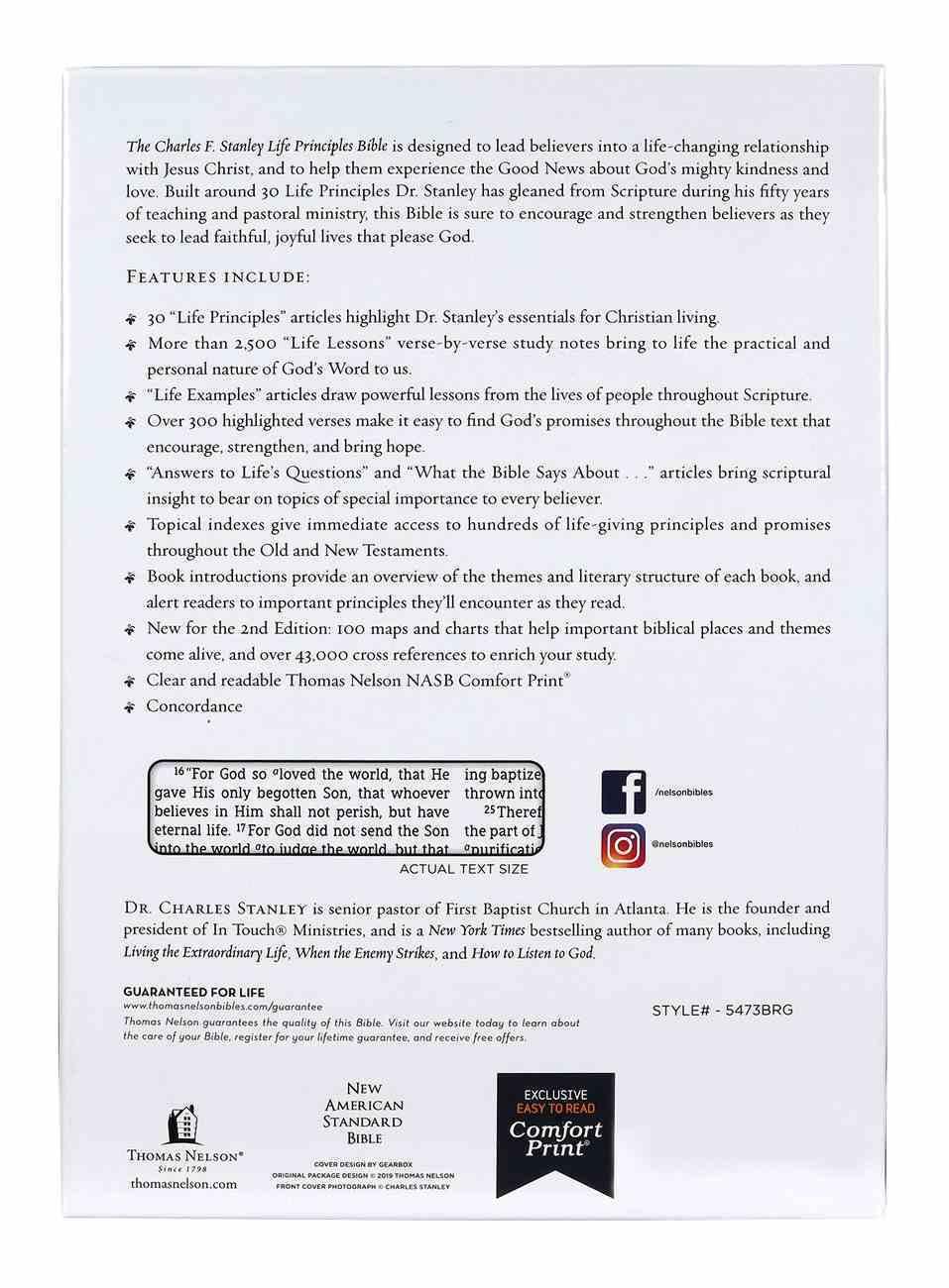 NASB Charles F Stanley Life Principles Bible Burgundy Thumb Index (2nd Edition) Premium Imitation Leather