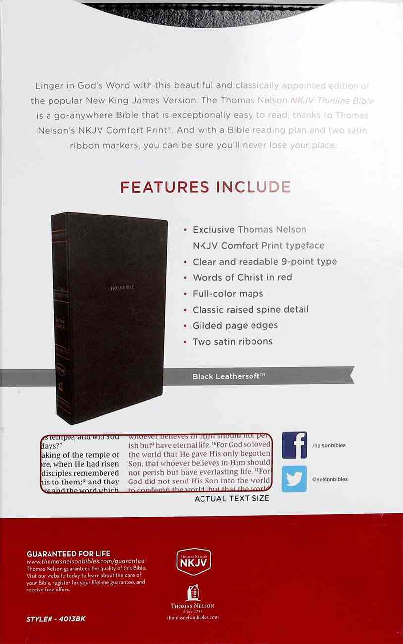 NKJV Thinline Bible Black Thumb Indexed (Red Letter Edition) Premium Imitation Leather