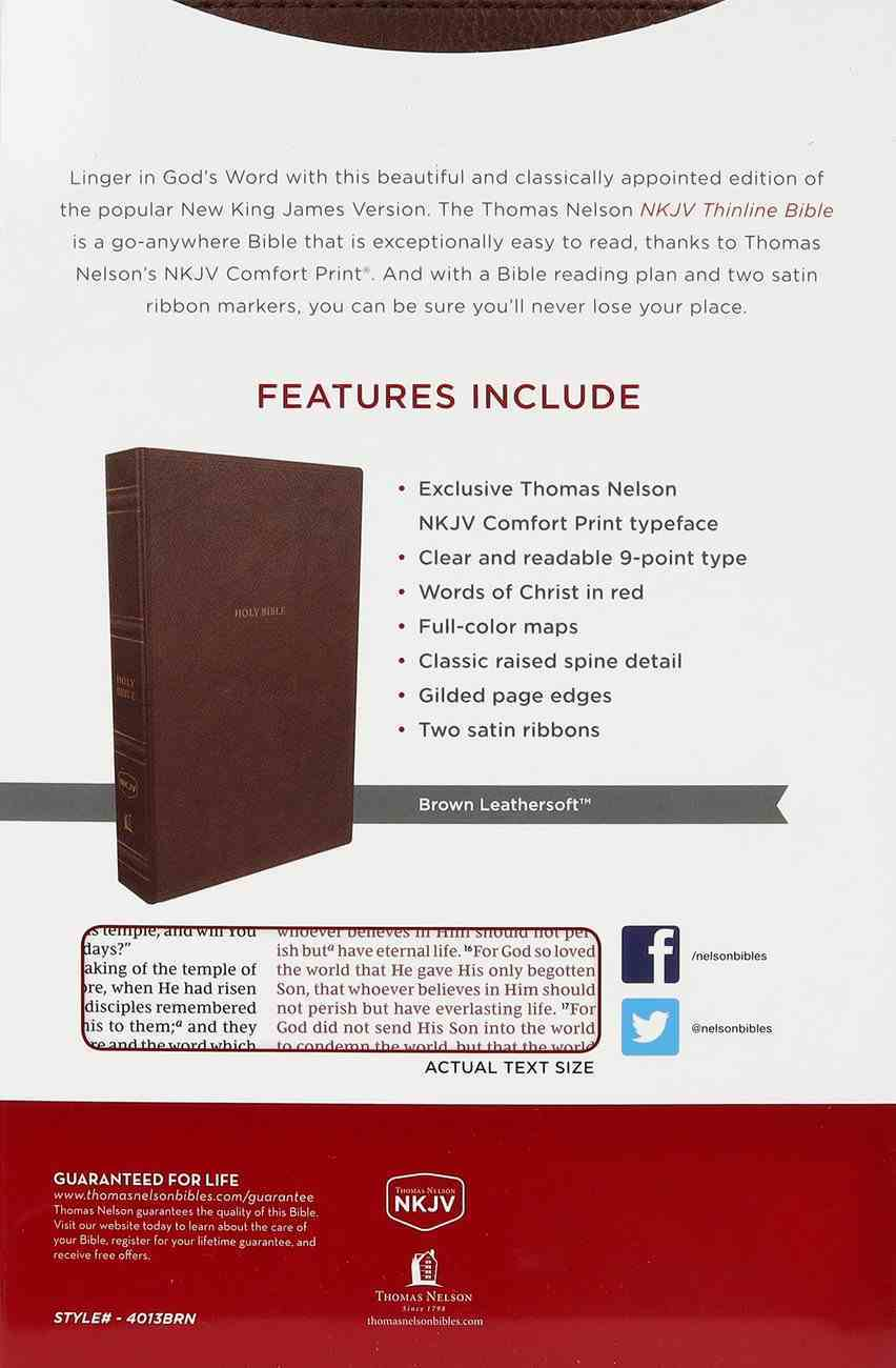NKJV Thinline Bible Brown Thumb Indexed (Red Letter Edition) Premium Imitation Leather