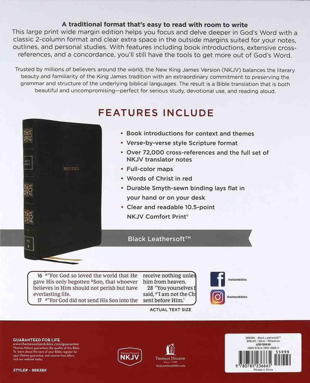 NKJV Reference Bible Wide Margin Large Print Black (Red Letter Edition) Premium Imitation Leather