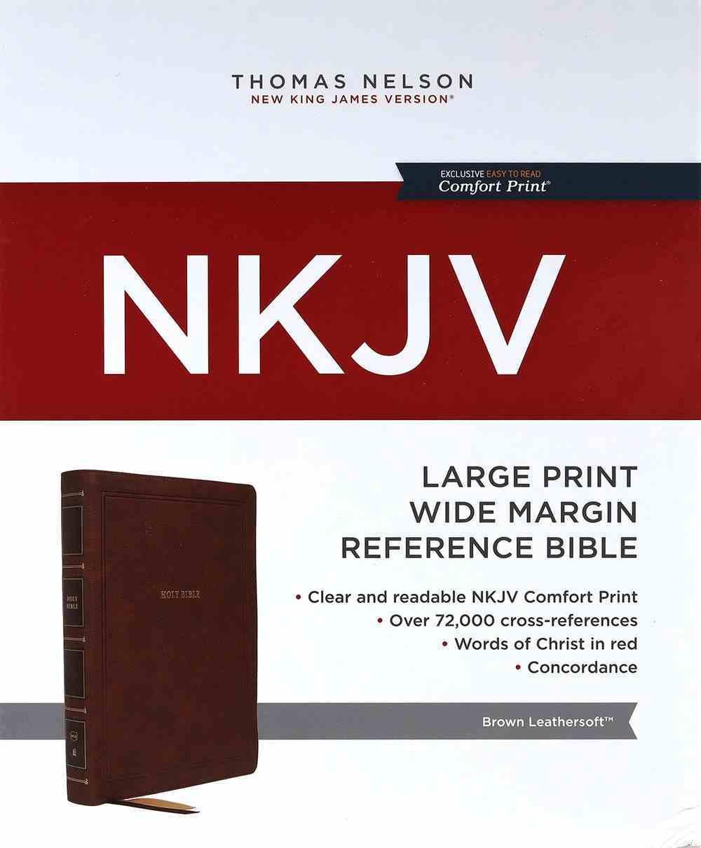 NKJV Reference Bible Wide Margin Large Print Brown (Red Letter Edition) Premium Imitation Leather
