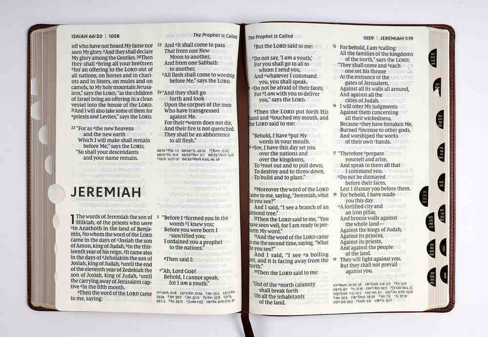 NKJV Reference Bible Super Giant Print Brown Thumb Index (Red Letter Edition) Premium Imitation Leather