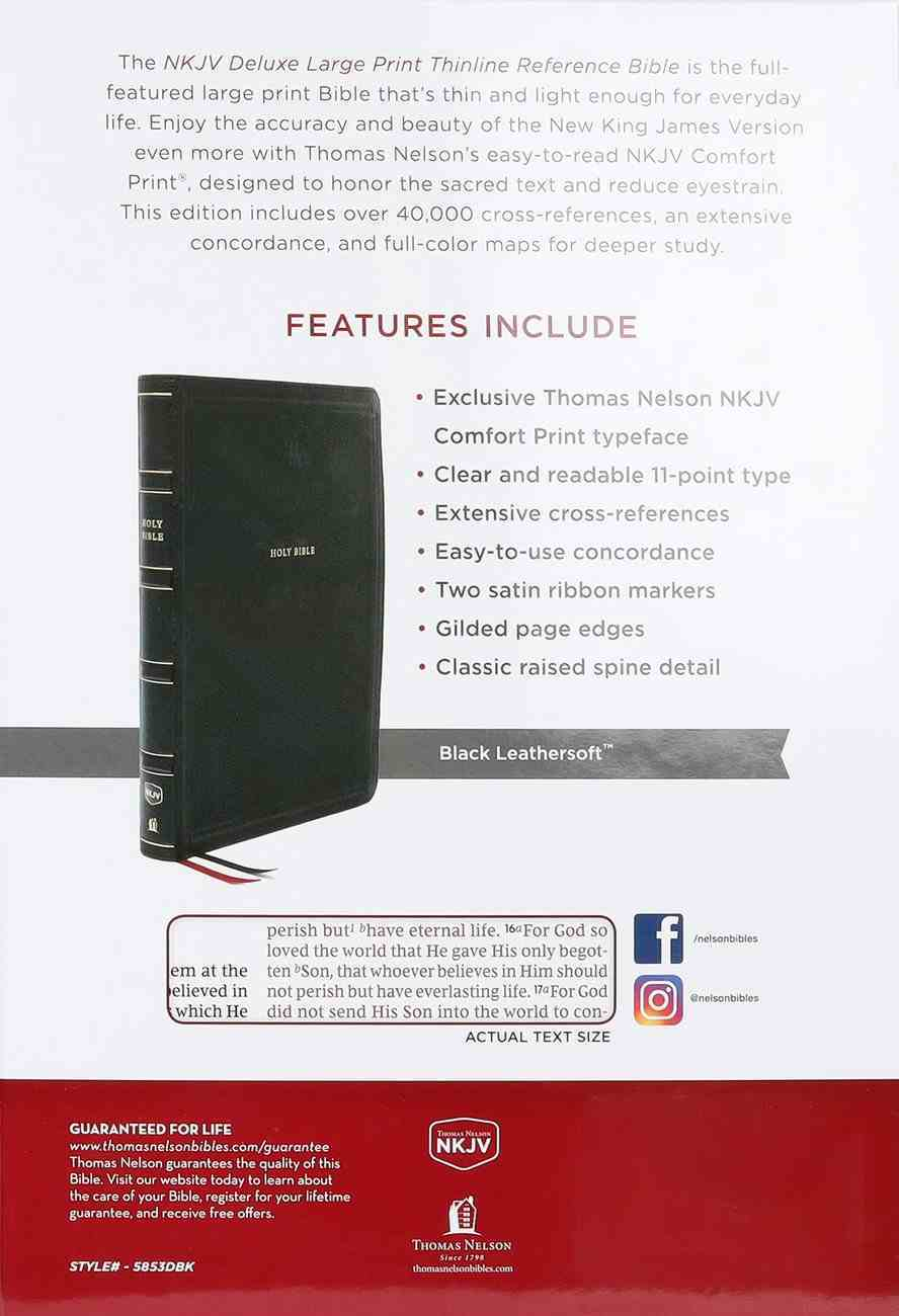 NKJV Deluxe Thinline Reference Bible Large Print Black Thumb Indexed (Red Letter Edition) Premium Imitation Leather