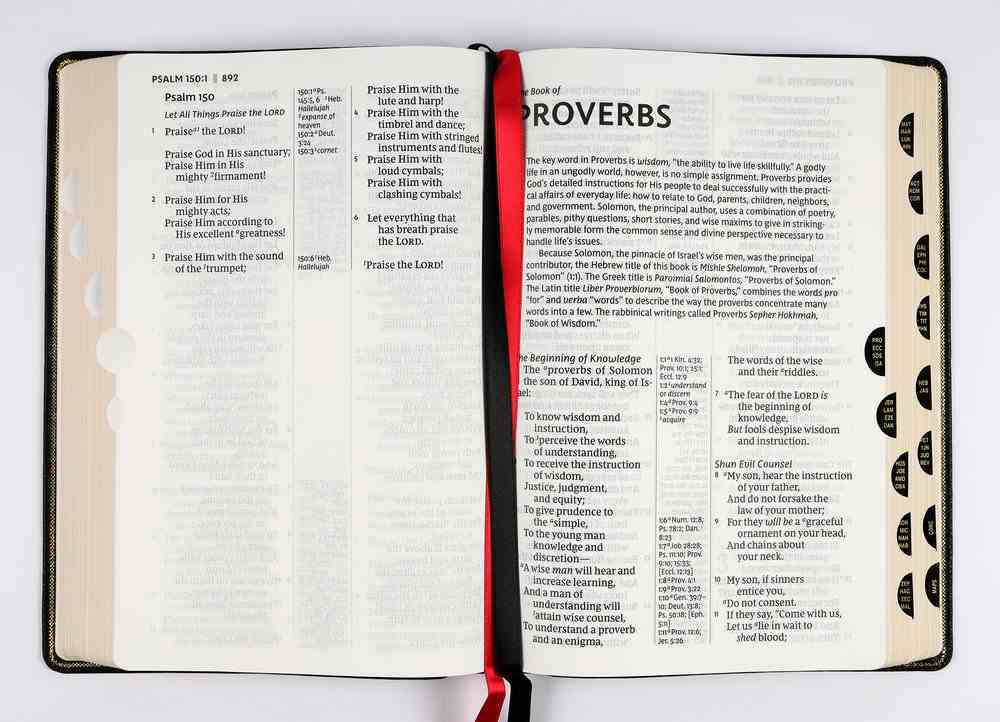 NKJV Deluxe Reference Bible Center-Column Giant Print Black Thumb Index (Red Letter Edition) Premium Imitation Leather