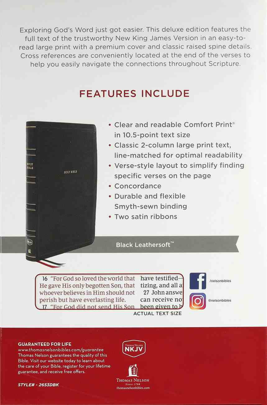 NKJV Deluxe End-Of-Verse Reference Bible Personal Size Large Print Black (Red Letter Edition) Premium Imitation Leather