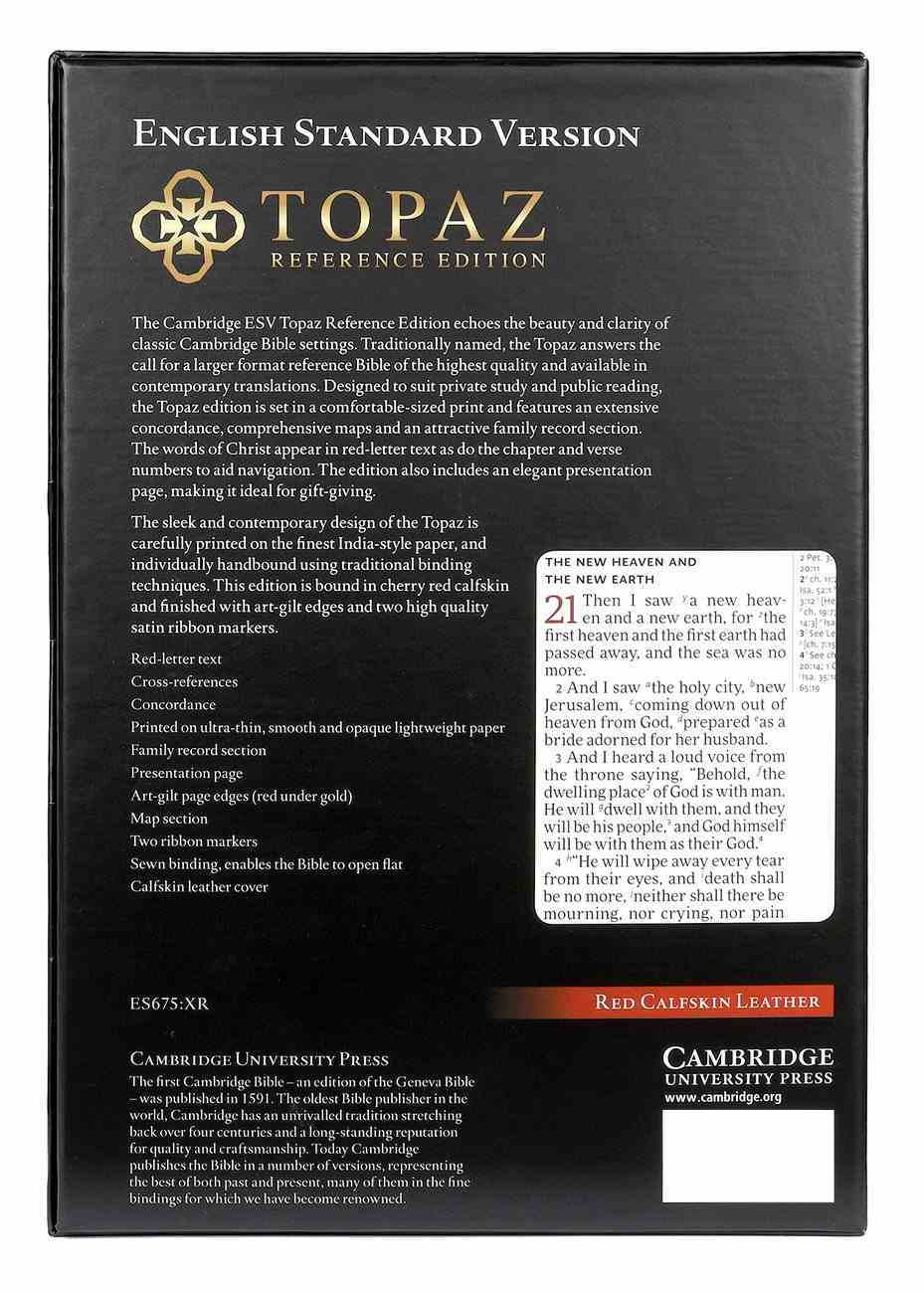 ESV Topaz Reference Bible Cherry Red (Red Letter Edition) Genuine Leather