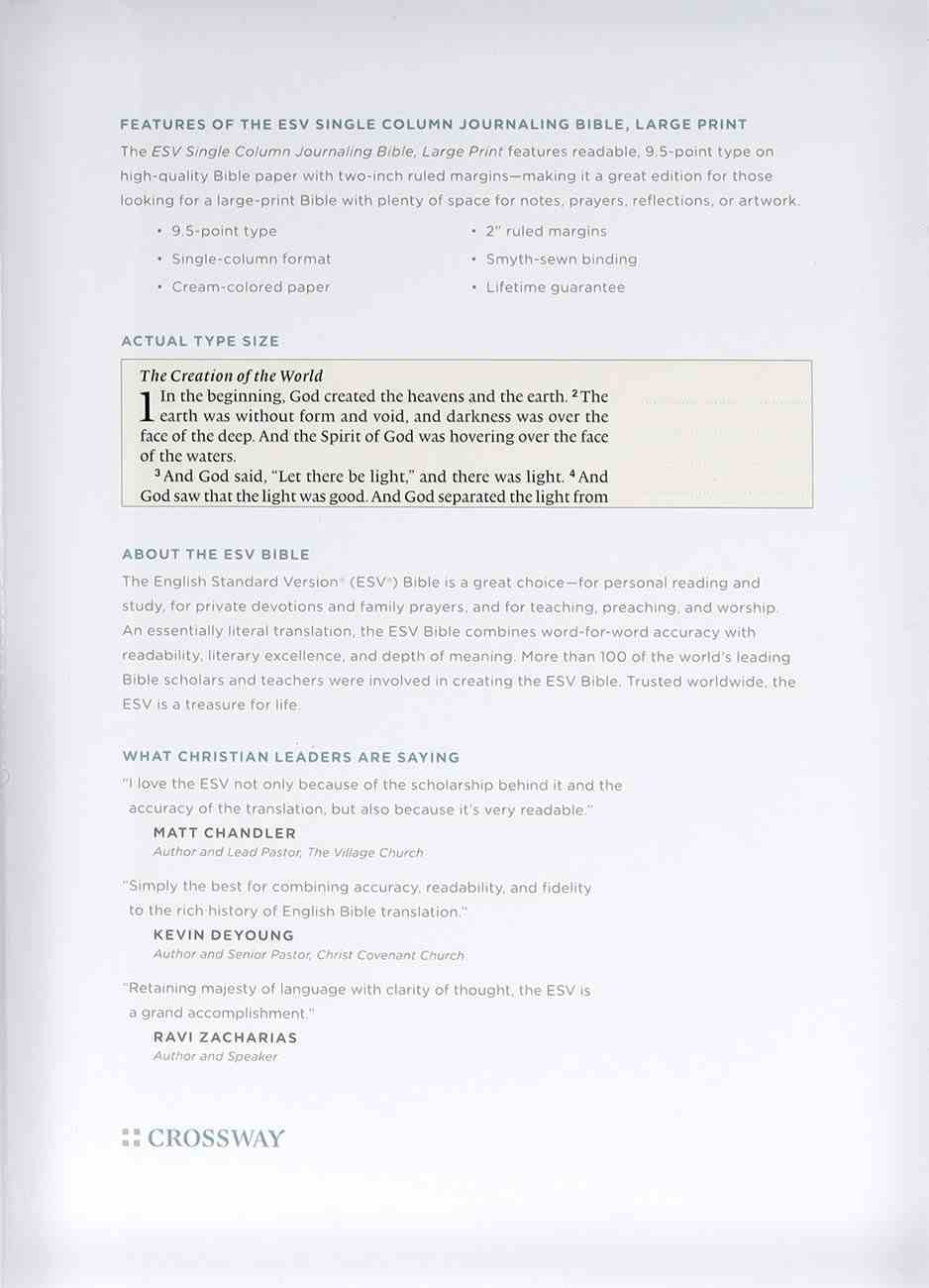 ESV Single Column Journaling Bible Large Print Deep Brown (Black Letter Edition) Genuine Leather