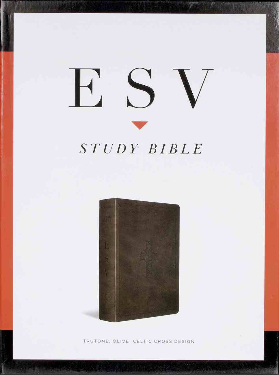 ESV Study Bible Olive Celtic Cross Design Indexed (Black Letter Edition) Imitation Leather