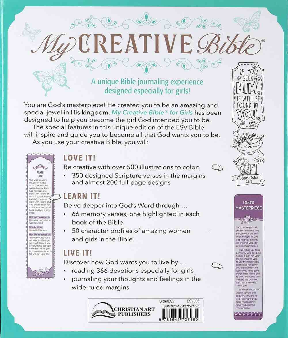 ESV My Creative Bible For Girls Teal Butterfly Imitation Leather Over Hardback