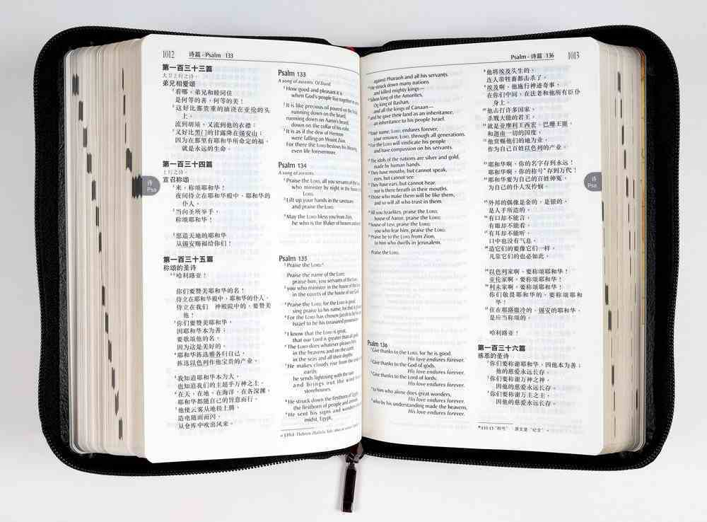 Rcu/Niv Chinese/English Compact Shen Edition Simplified Script Zippered Black Bonded Leather
