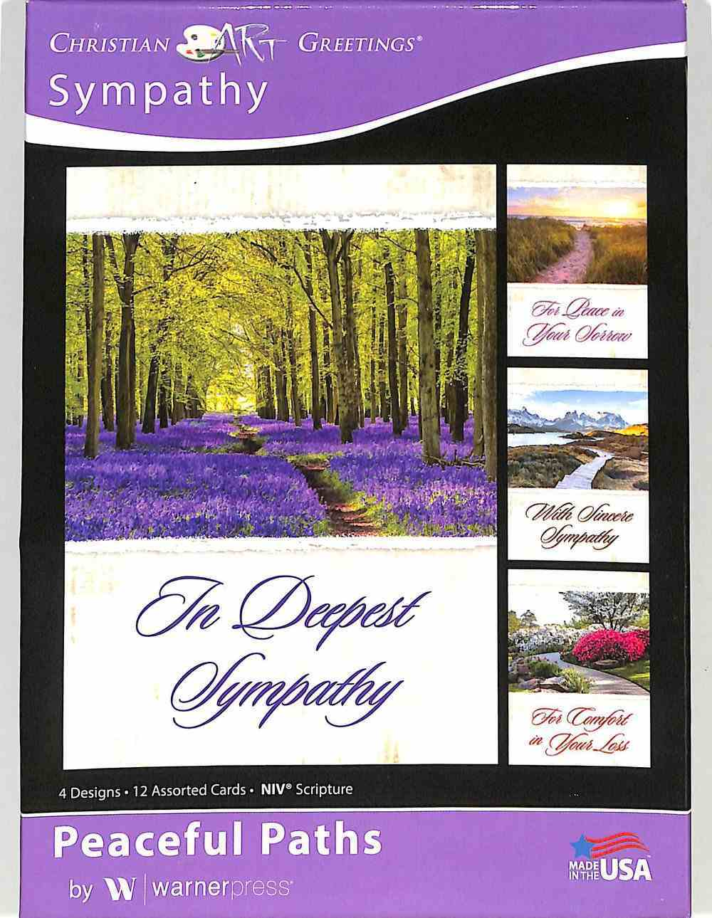 Boxed Cards: Sympathy - Peaceful Paths (4 Designs, 12 Assorted Cards, Niv) Box