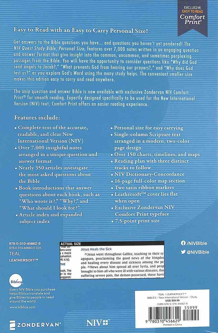 NIV Quest Study Bible Personal Size Teal Premium Imitation Leather