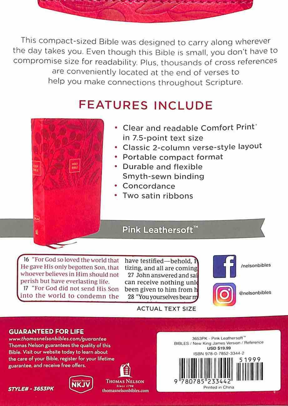 NKJV End-Of-Verse Reference Bible Compact Large Print Pink (Red Letter Edition) Premium Imitation Leather