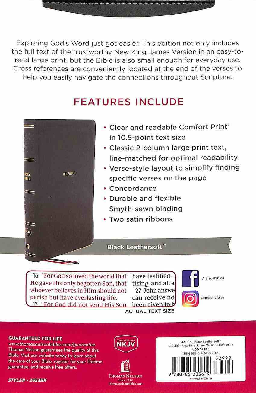 NKJV End-Of-Verse Reference Bible Personal Size Large Print Black (Red Letter Edition) Premium Imitation Leather