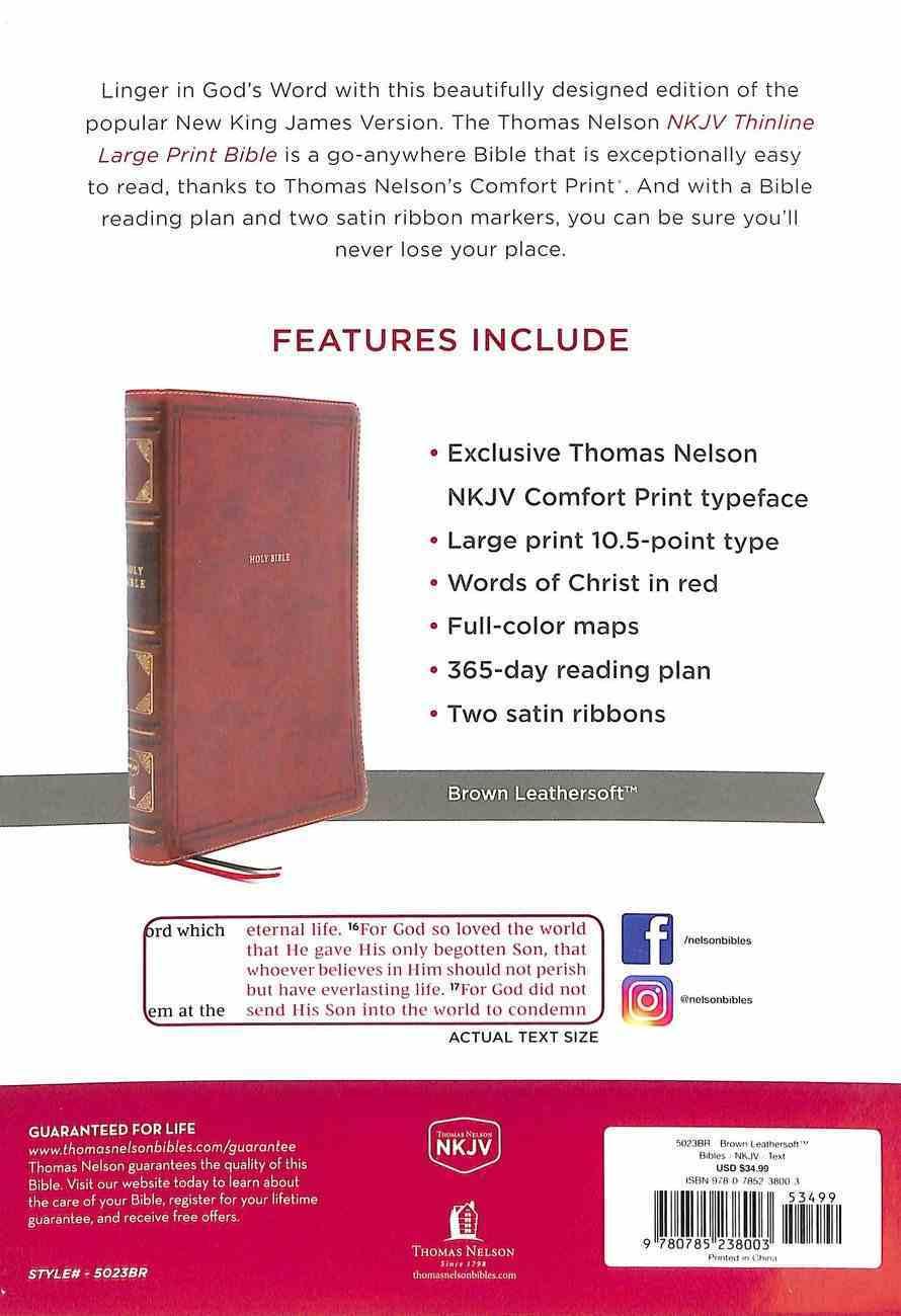 NKJV Thinline Bible Large Print Brown Premium Imitation Leather