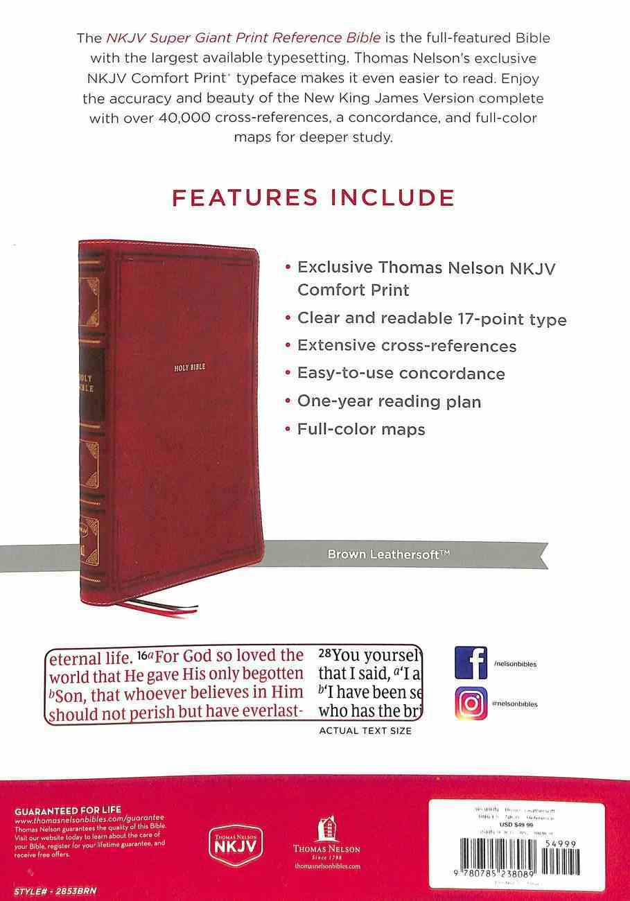 NKJV Reference Bible Super Giant Print Brown (Red Letter Edition) Premium Imitation Leather