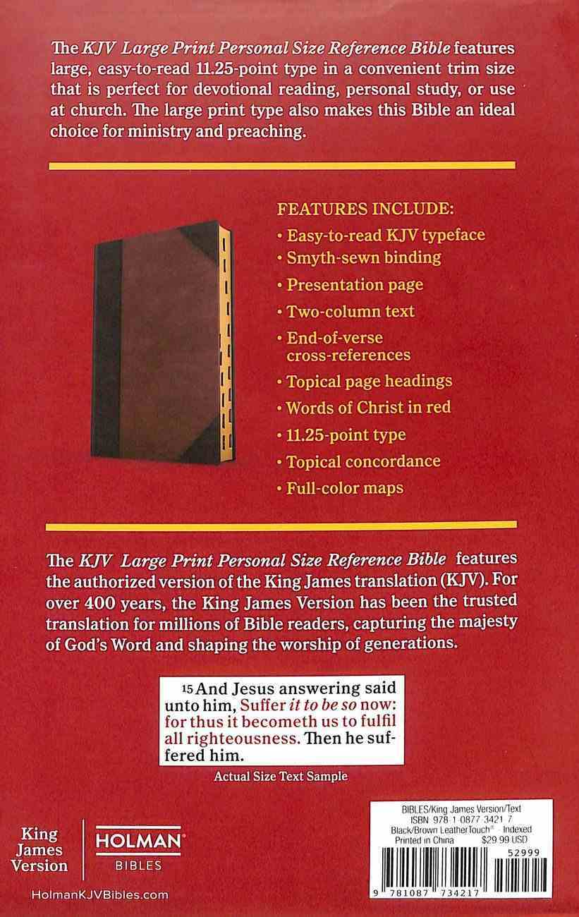 KJV Large Print Personal Size Reference Bible, Brown/Black Leathertouch Indexed Paperback