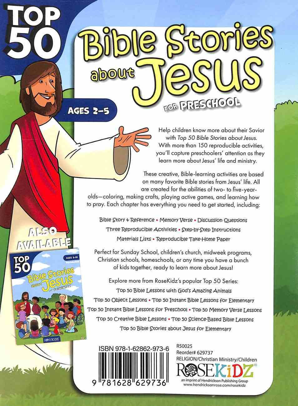 Top 50 Bible Stories About Jesus For Preschool (Ages 2-5) (Rosekidz Top 50 Series) Paperback