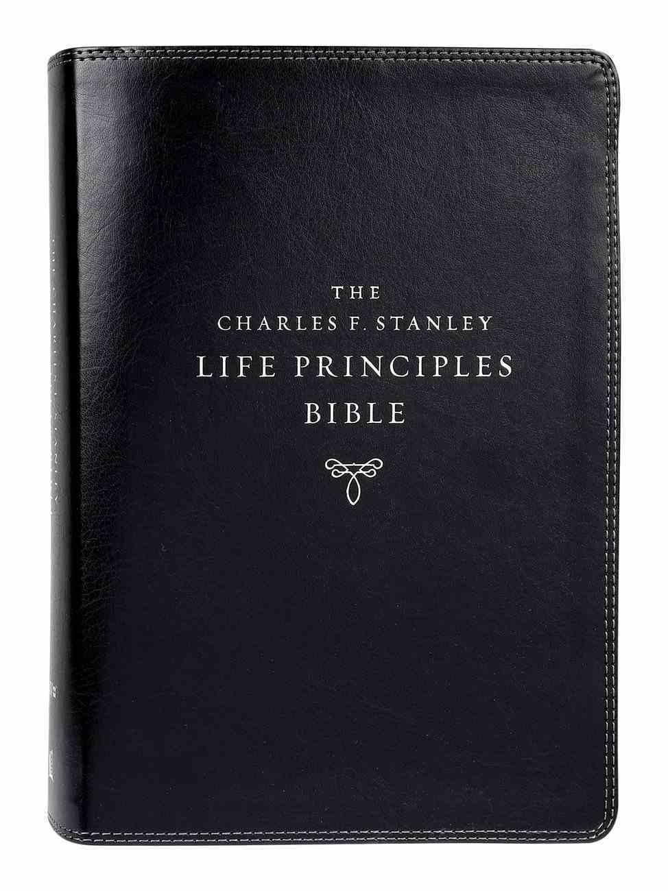 NIV Charles F Stanley Life Principles Bible Black (2nd Edition) Premium Imitation Leather