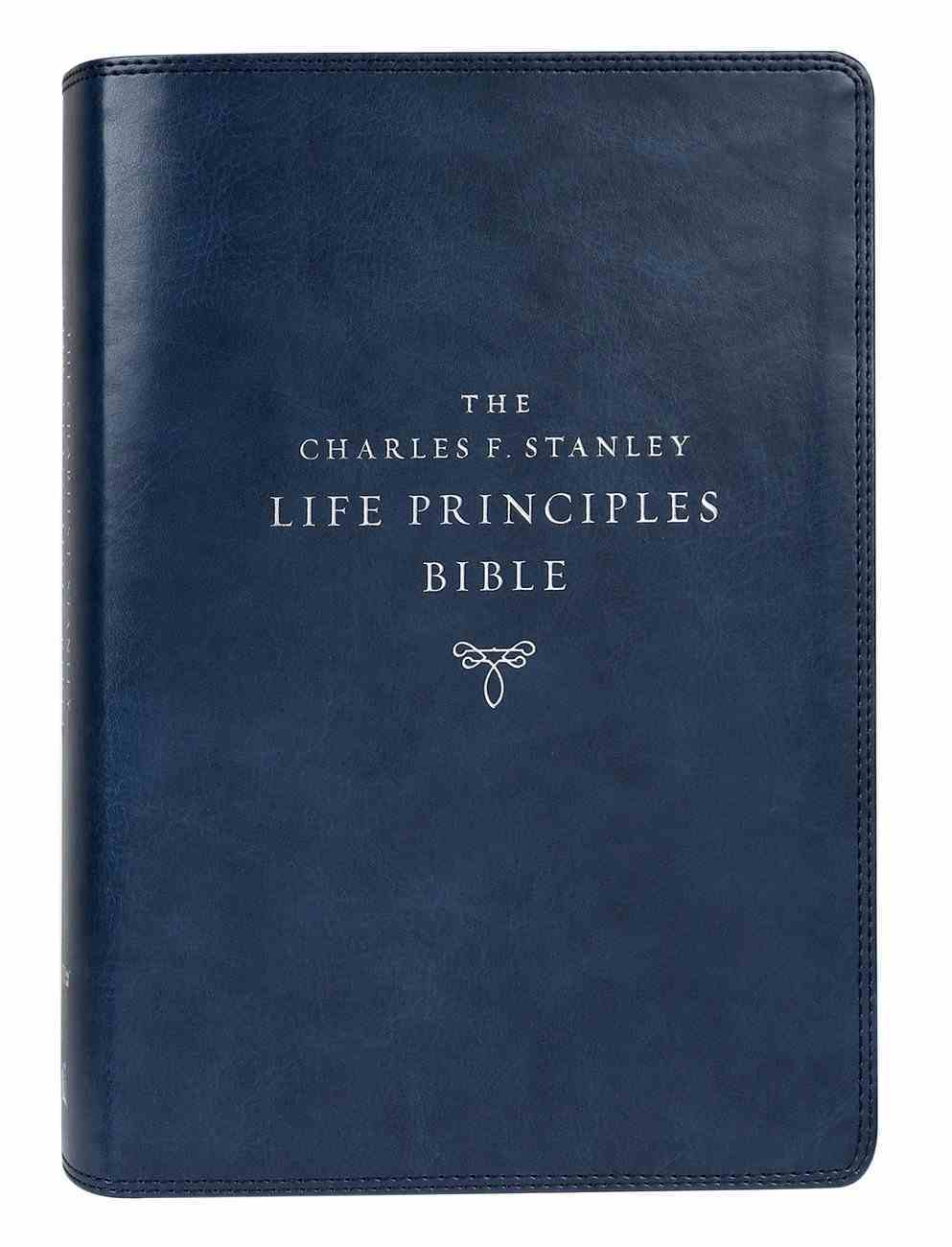 NIV Charles F Stanley Life Principles Bible Blue Thumb Index (2nd Edition) Premium Imitation Leather