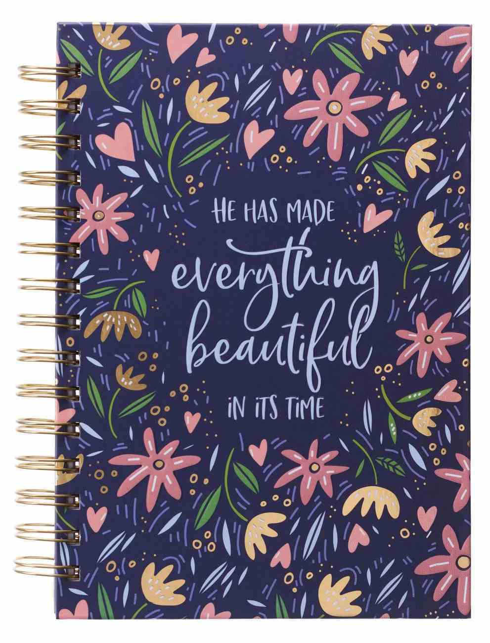 Journal: Everything Beautiful, Navy/Flowers Spiral