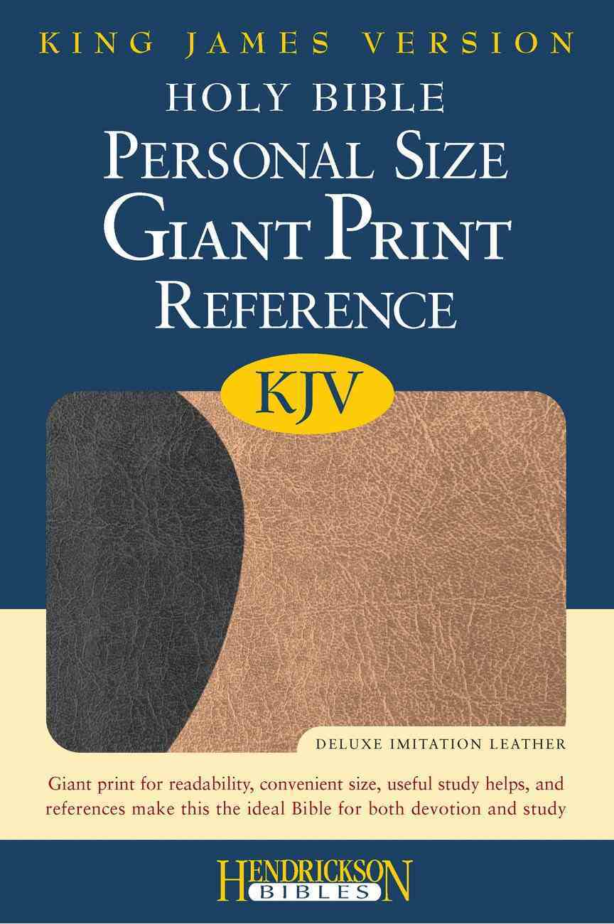 KJV Personal Size Giant Print Reference Bible Black/Tan Flexisoft Imitation Leather